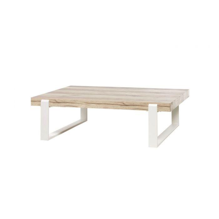 Table Basse Style Scandinave Bois Naturel Et Pieds Metal Blanc
