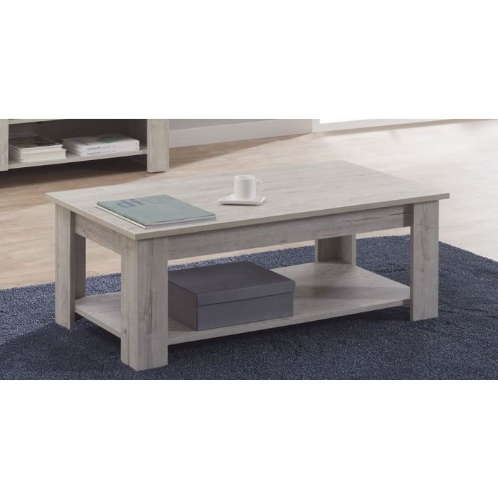 table basse rectangulaire 2 plateaux chene blanc george