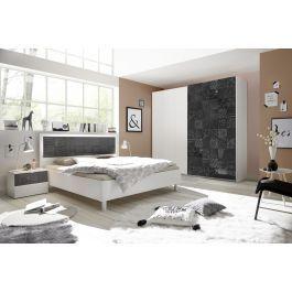 Chambre adultes complète design avec sérigraphies blanc et gris laqué Parme