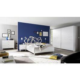 Chambre complète adulte tête de lit design sérigraphies lit 160 cm blanc  Martine