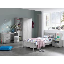 Chambre complète enfant avec bureau chêne grisé Civa