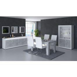 Salle à manger compléte table 180 cm Neon blanche et grise effet béton