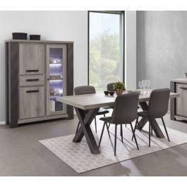 Salle à manger moderne vaisselier à LED chêne gris Lionel