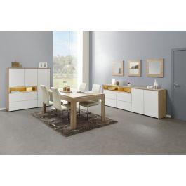 Salle à manger à LED buffet table meuble de rangement canberra et blanc Xam