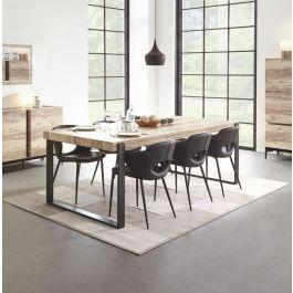 Table de salle à manger design industriel 225 cm pieds métal Barosse