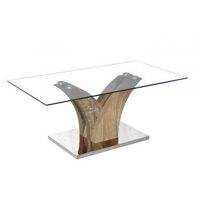 Table Basse Design En Verre Pied Bois Verga Chêne Vieilli