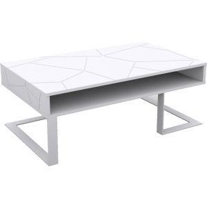 Table Basse Design Blanc Pieds Chrome Noir Sliver Trocity