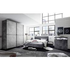 Chambre à coucher adulte contemporaine lit 180 cm gris béton Lory
