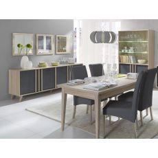 Salle à manger complète Lisieux style scandinave chêne sonoma / béton 180  cm.