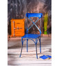 Chaise métal vieilli Benjamin bleu (lot de 2)