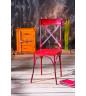 Chaise métal vieilli Benjamin rouge (lot de 2)