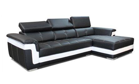 Canapé d'angle noir et blanc design